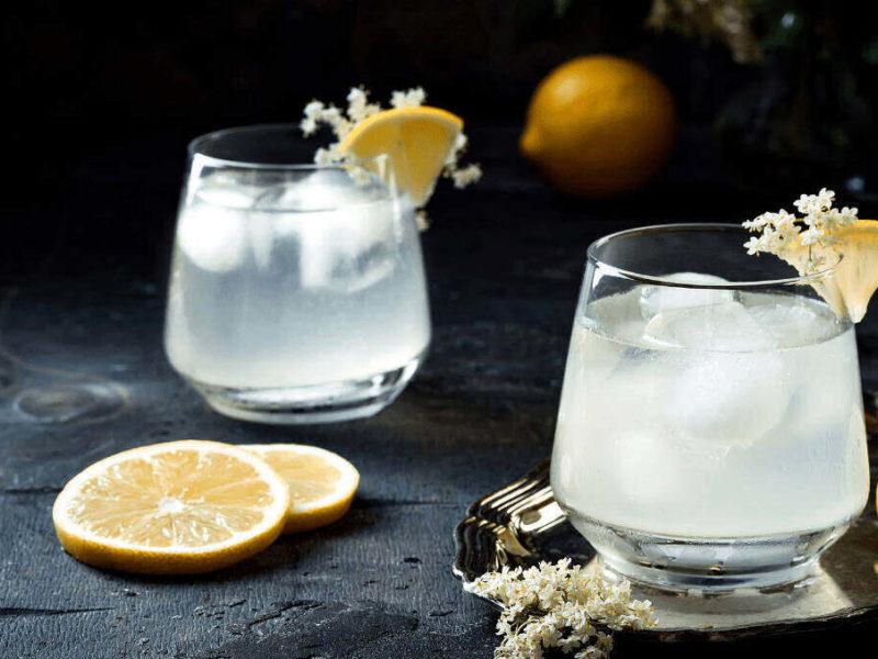 Gin Sour and lemon garnish