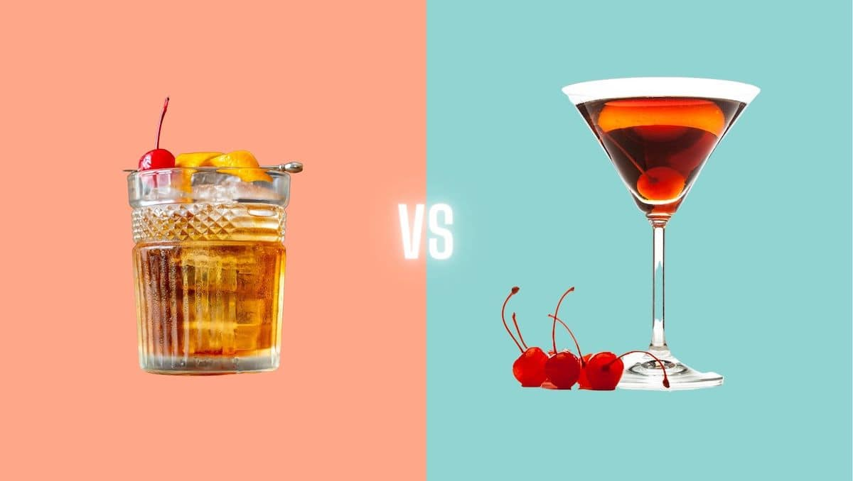 Manhattan vs Old Fashioned cocktail