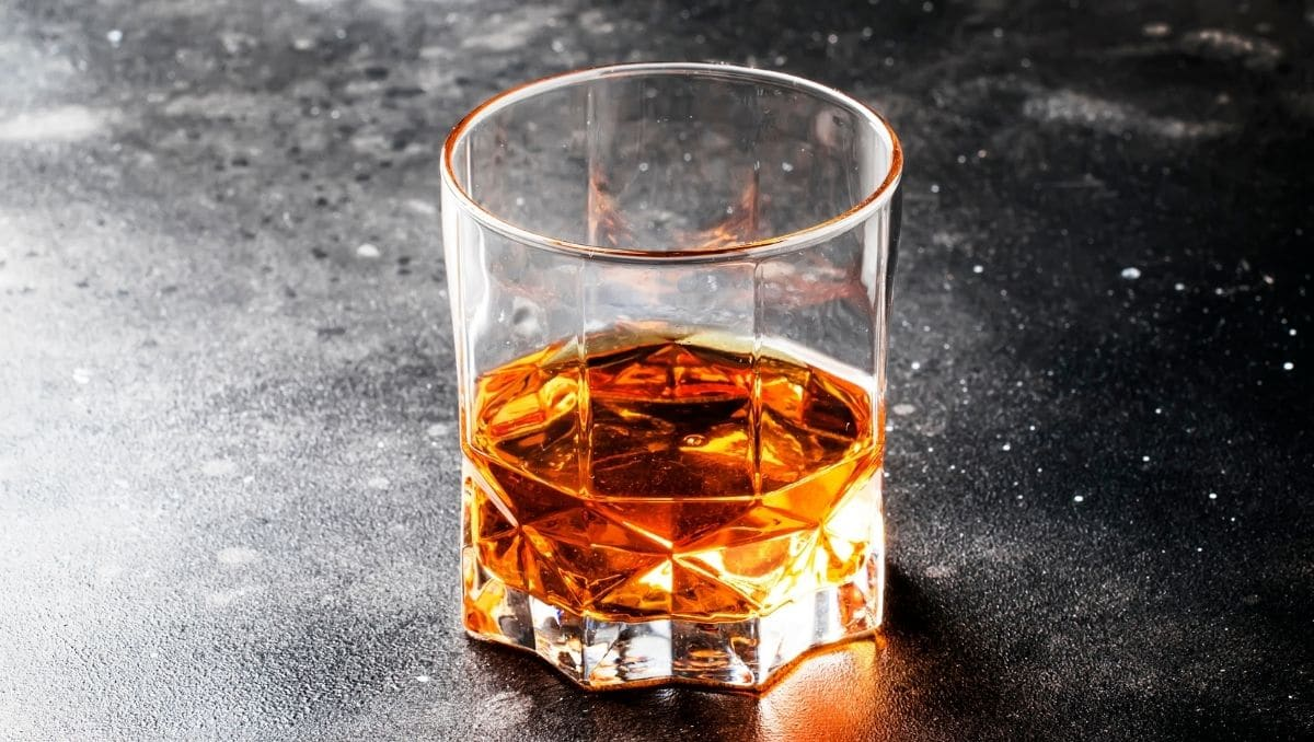 Bourbon whiskey served in glass