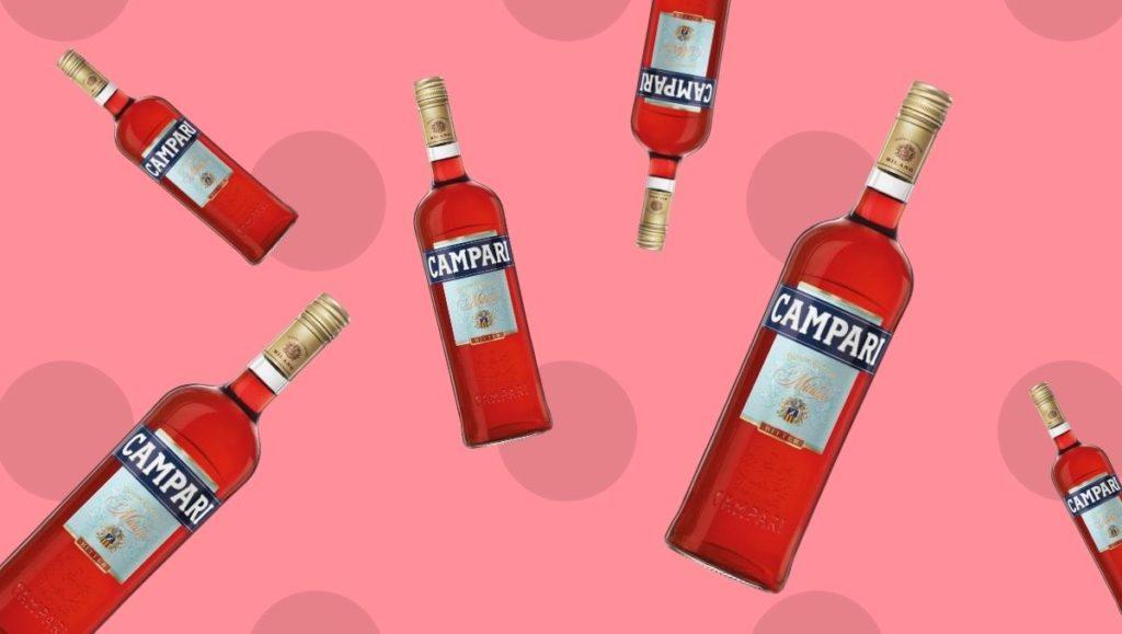 Campari bitter liqueur bottles