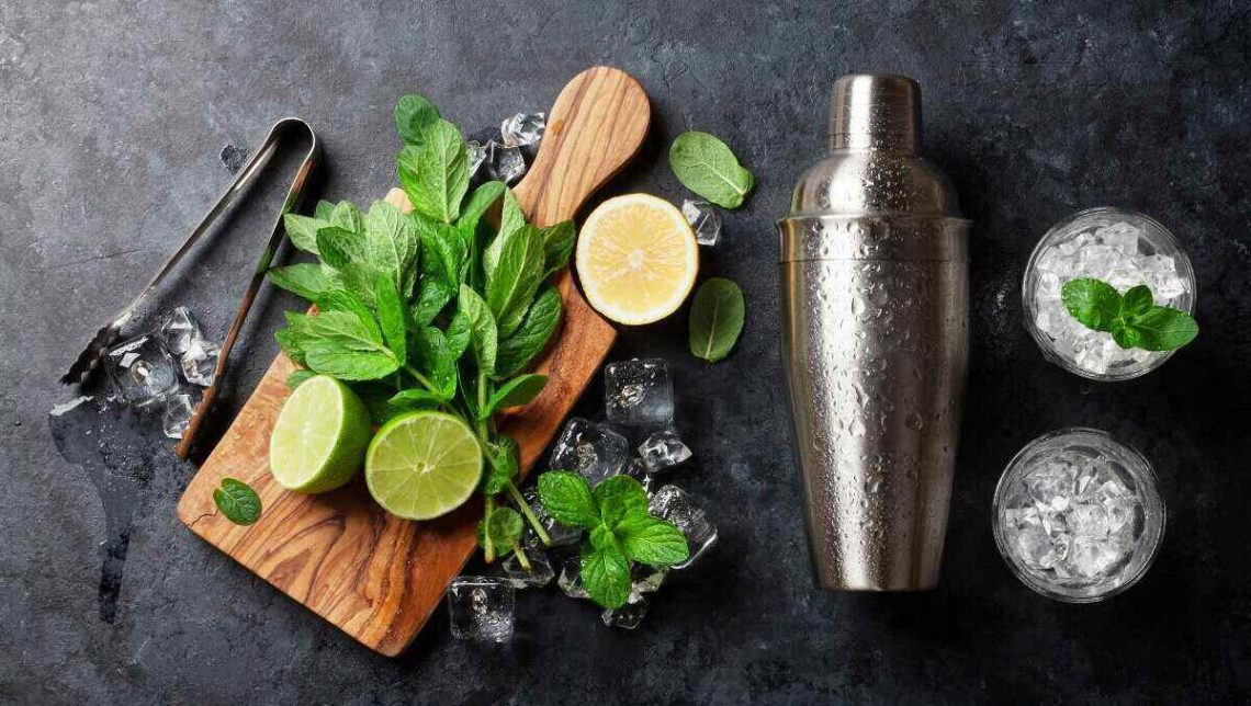Cocktail Shaker ice basil and lime